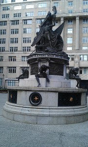 Monument at the Exchange showing French prisoners of war. They built Albert Docks.