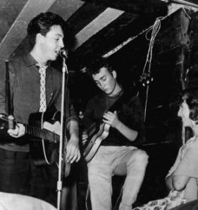 An early picture of the Beatles at the Casbah Club. Not enough room to swing a cat!