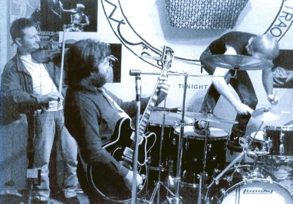 Rick jamming with Geoff Overon and Graeme Malen at the Phoenix Theatre Leicester c.1985