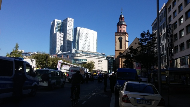 Frankfurt centre. Many interesting modern buildings.
