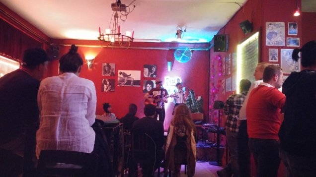 Red Room Open Mic, Prague. Jeff and Desiree playing.