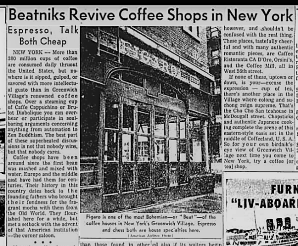 Coffee Bar New York Figaro Chicago Tribune 1960