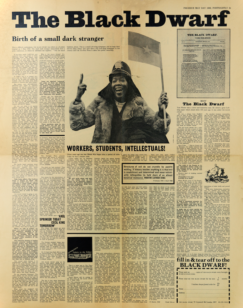 First issue of <i>The Black Dwarf</i> released as a free-sheet on May Day 1968
