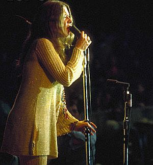 Janis Joplin performing at the Monterey Pop Festival in June 1967 where she would do a stunning version of 'Ball and Chain' that would mark her as an overnight blues sensation. Photo, Ted Streshinsky. Click for studio DVD version.