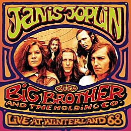 Janis Joplin shown with members of the band, Big Brother and the Holding Co., on album cover for live performance at Winterland in San Francisco.