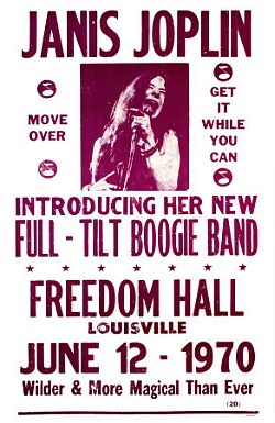 Poster for a Janis Joplin concert on June 12, 1970 in Louisville, KY with her new Full-Tilt Boogie Band.