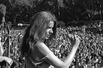 A younger Janis Joplin performing at an unidentified rock-festival venue sometime in the 1960s.